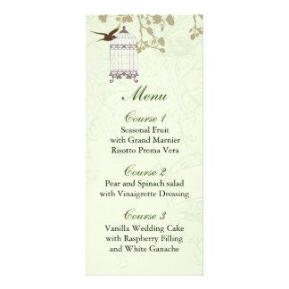 cage à oiseaux verte florale, cartes de menu carte double