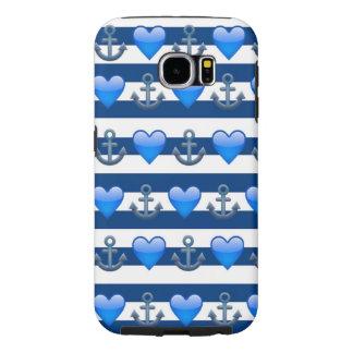 Caisse bleue de la galaxie S6 d'Emoji Samsung