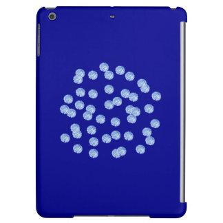 Caisse brillante d'air d'iPad de pois bleu