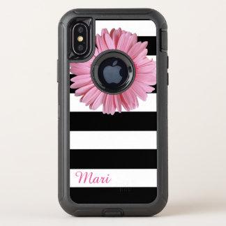 Caisse de l'iPhone X d'Otterbox barrée par fleur