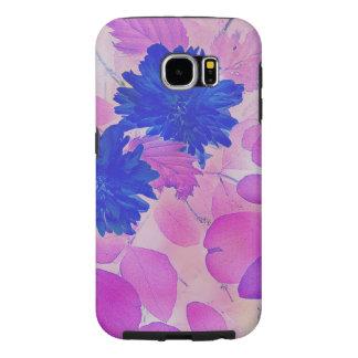 Caisse dure de fleurs bleues roses de feuille de