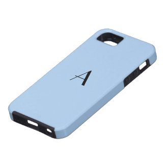 Caisse en pastel bleue du monogramme iPhone5 de bl Étuis iPhone 5