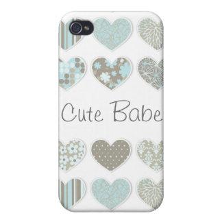 Caisse en pastel mignonne de coeurs étuis iPhone 4