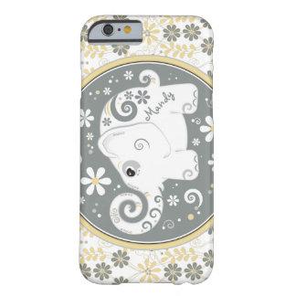Caisse florale jaune grise de l'iPhone 6 d'objet Coque Barely There iPhone 6