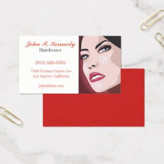Caisse graphique rouge d'affaires de coiffeur cartes de visite