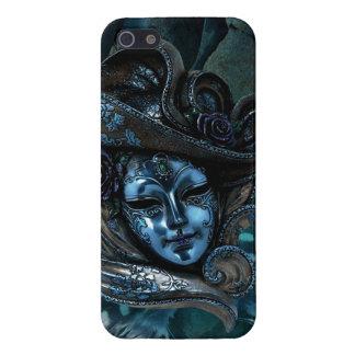 Caisse Masque-Bleue de l'iPhone 5 de damassé de ca Étuis iPhone 5