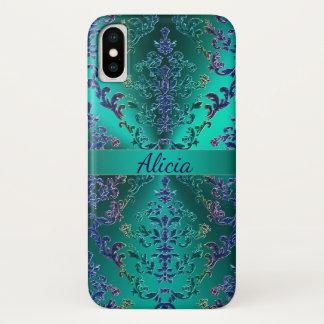 Caisse métallique colorée de l'iPhone X de damassé Coque iPhone X