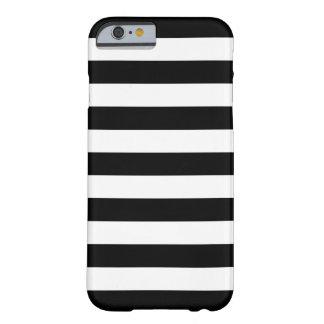 Caisse noire et blanche de l'iPhone 6 de rayures Coque Barely There iPhone 6