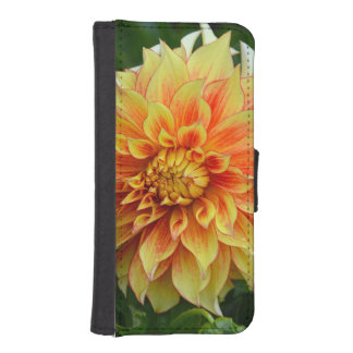 Caisse orange de portefeuille d'iphone de fleur de