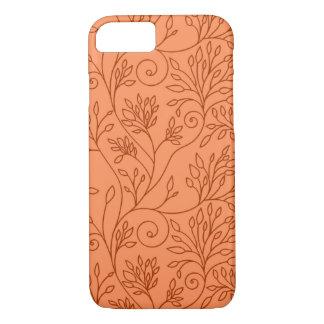 Caisse orange florale élégante de l'iPhone 7 Coque iPhone 7