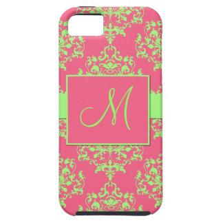 Caisse rose et verte de l'iPhone 5 de monogramme d iPhone 5 Case
