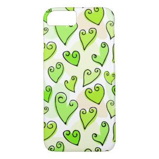 Caisse verte de l'iPhone 5 des coeurs de Valentine Coque iPhone 8/7