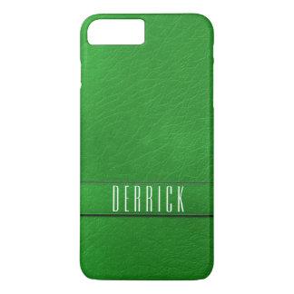 Caisse verte personnalisée de téléphone de cuir de coque iPhone 7 plus