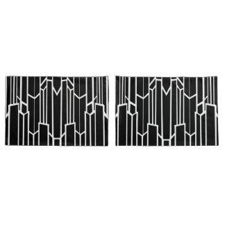 Caisses standard de coussin de cascade noire et housse d'oreillers