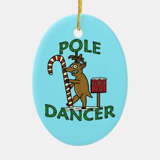 Calembour drôle de renne de Noël de danseur Ornement Ovale En Céramique
