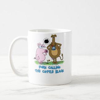 Calembour drôle - porc appelle les bétail noir mug