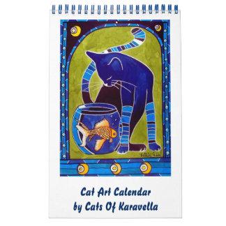 Calendrier Mural Calendrier lunatique 2018 d'art de chat pour