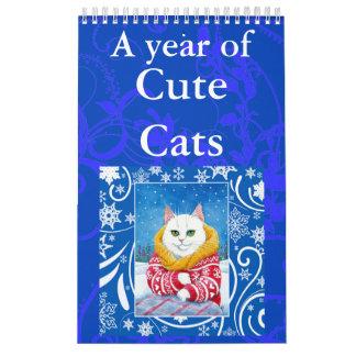 Calendrier mignon d'illustrations d'art de chat