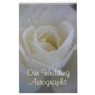 Calendrier Mural Autographe de mariage d'ange/livre d'invité roses