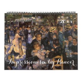 Calendrier Mural Impressionisme vintage par Pierre Auguste Renoir