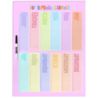 Calendrier perpétuel coloré d'anniversaire tableaux blancs  effaçables à sec