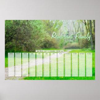 Calendrier spécial de jours de famille de chemin e poster