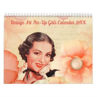Calendrier vintage 20XX de filles de Pin- d'art