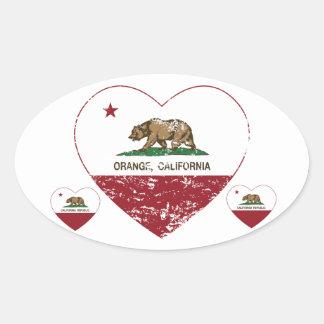 Californië verontrust vlag oranje hart ovale sticker