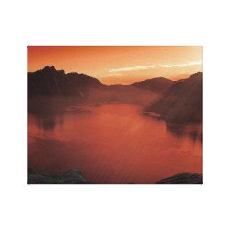 Calme à l'art rouge de toile de lac toiles