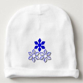 Calotte bleue et blanche de coton de bébé de bonnet pour bébé