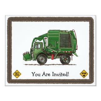 Camion de déchets mignon de camion à ordures carton d'invitation 10,79 cm x 13,97 cm