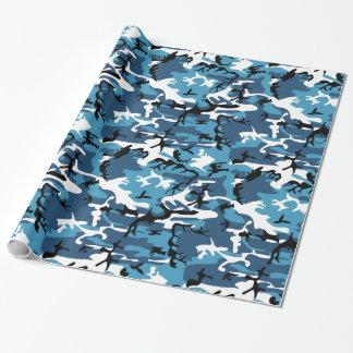 Camo bleu papier cadeau