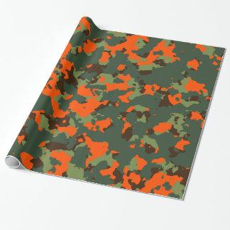Camo vert avec l'orange de flamme de sécurité papier cadeau