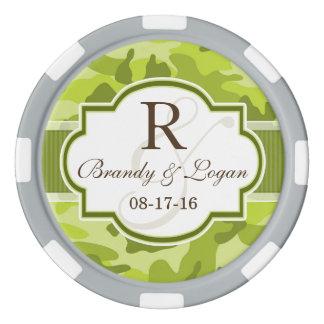 Camo vert, mariage de camouflage jetons de poker