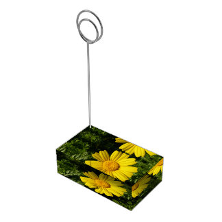 Camomille jaune ensoleillée porte-carte de table