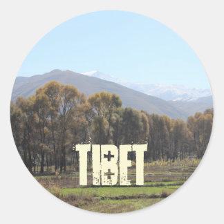 Campagne de Tibétain d'Amdo Sticker Rond