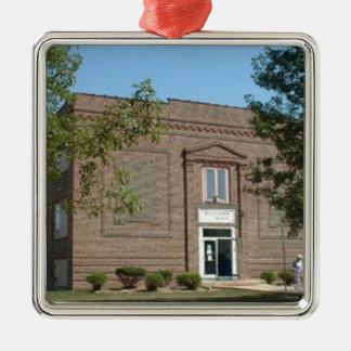 Campanule, école historique du Missouri Ornement Carré Argenté
