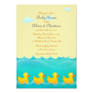 Canards dans une invitation de baby shower de