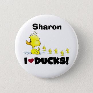 Canards jaunes d'amour d'enfants d'animaux de badge rond 5 cm