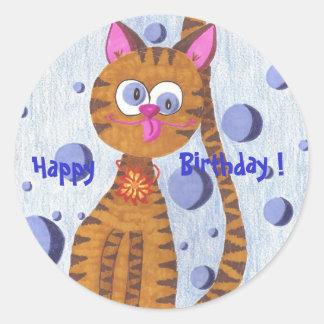 Cannelle le chat heureux, anniversaire ! sticker rond