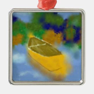 Canoë dans l'art de l'eau ornement carré argenté