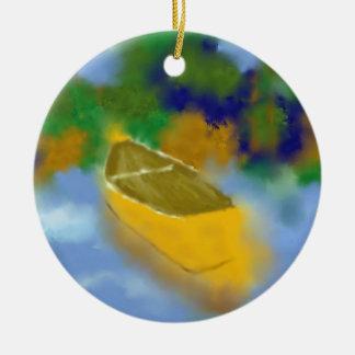 Canoë dans l'art de l'eau ornement rond en céramique