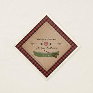 Canoë de plaid + Coeur avec le mariage rustique de Serviette Jetable
