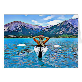 Canoë-kayak de femme par la carte inspirée d'océan