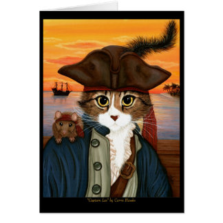 Capitaine Lion, chat de pirate et carte d'art