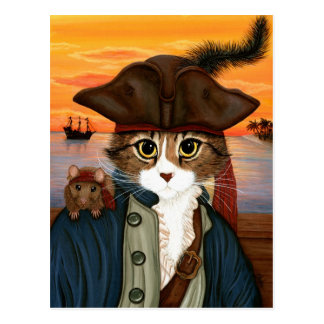 Capitaine Lion, chat de pirate et carte postale