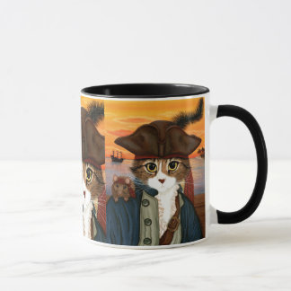 Capitaine Lion, chat de pirate et tasse d'art
