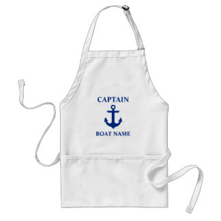 Capitaine nautique Boat Name Anchor Tablier