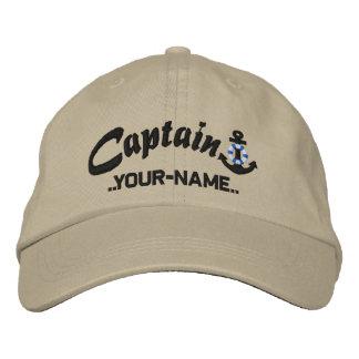 Capitaine personnalisé Lifesaver Anchor Name Black Chapeaux Brodés