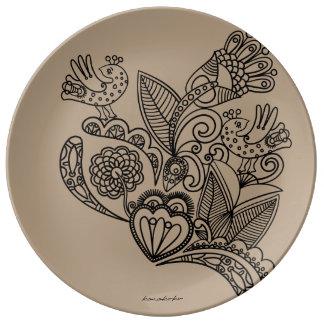 Cappuccino floral de plat de dîner de porcelaine assiette en porcelaine
